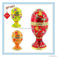 Wholesale metal easter egg trinket box for wedding gift (QF3481)