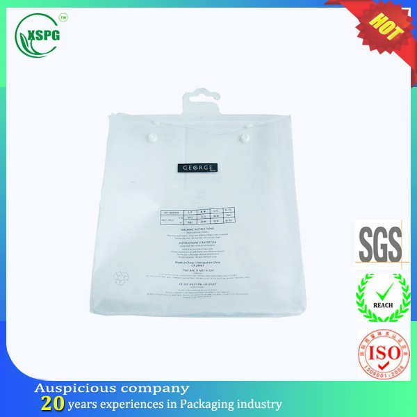 Recyclable custom foldable plastic snap gament hook bag