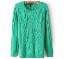 women lady 100% acrylic chunky heavy knit cable sweater