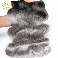 8A Grade Ombre Hair Extensions 1B Silver Grey Human Hair Weaving Ombre Brazilian Virgin Human Hair Bundles Hot Sale