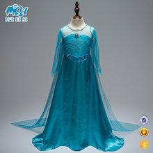 New Arrival Kids Blue Long Sleeve Maxi Frock Girls Frozen Princess Fancy Dress With High Quality BXLSTW