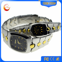 2016 Fashion new design stainless alloy gold couple lover wrist watch