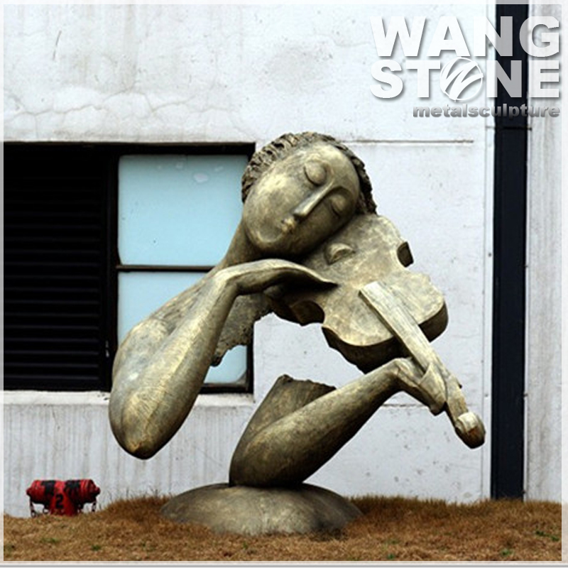 Outdoor Statue Playing Violin Bronze Sculpture