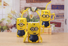 The best selling creative cartoon minions mug unique shape ceramic coffee water tea cup for kids