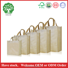 Supermarket non woven Wine Shopping Bag can custom logo printed promotion shopping bag