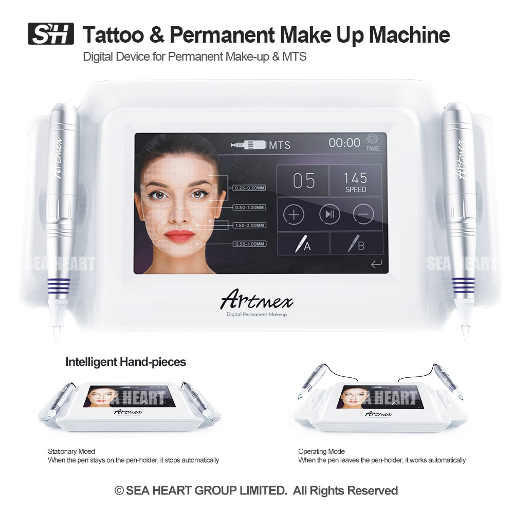 Powerful standard motor intelligent switch hand-pieces permanent make up pigment / eyebrows tattoo machine