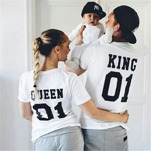Wholesale Fashion Letter King Queen Prince Princess Printed Cotton Family Matching t Shirt