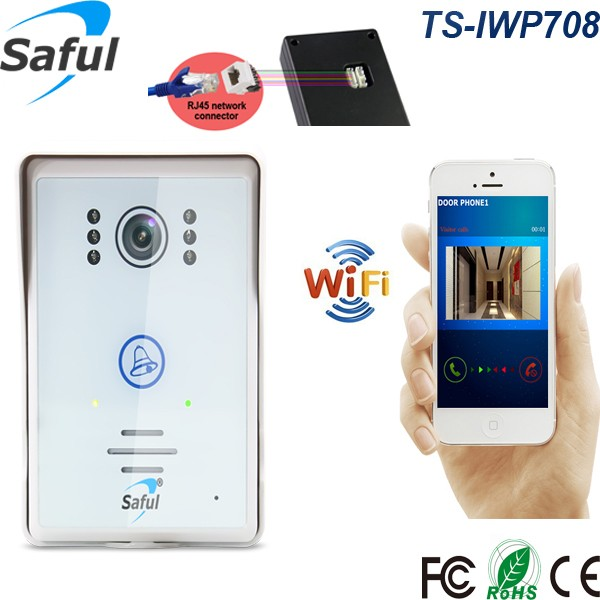 Saful TS-IWP708 Home Security Wireless Video Door Phone real time <strong>watching</strong> and listening wifi doorbell with IOS and Android APP
