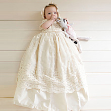Embroidery Flowers Christening Gown Baby Dresses Newborn Outfit White/Pink Custom Lace Baptism Robe With Bonnet