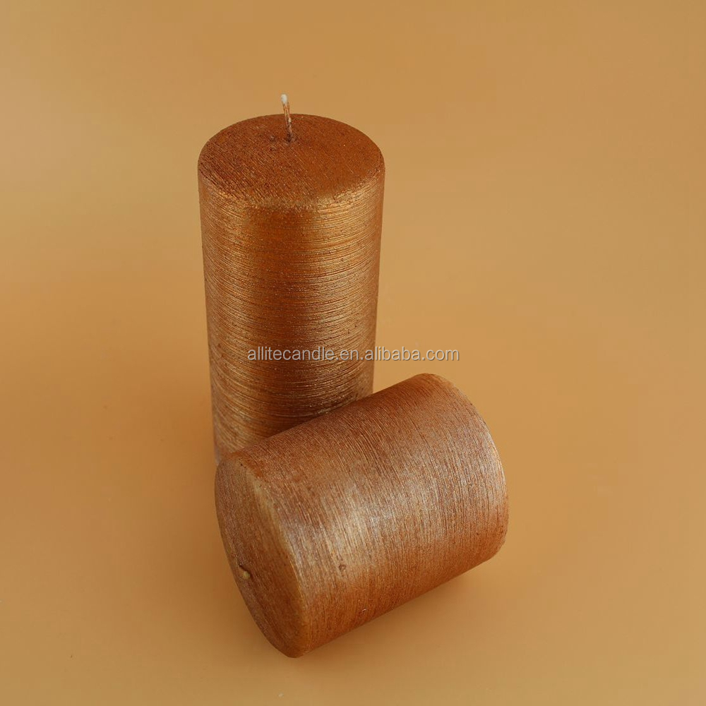 D7.5*10CM orange color metallic pillar candle without scent
