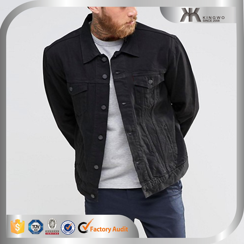 2016 New Arrival High Quality Fashion Men Black Denim Jean Jacket