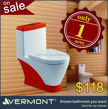 red toilet on sale