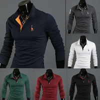 Freeshipping Men Stylish Slim Fit Long Sleeve Casual POLO Shirt T-shirts Tee Tops T03
