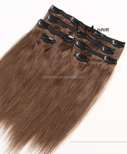 tangle free Cheap Indian 100% remy clip in human hair extensions with full head