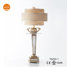 American Style decorative mirrored glass table lamp antique resin lamp made in china T6250-1