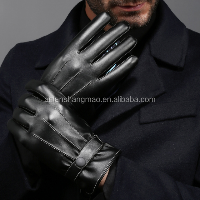 Men full finger pu touch sreen leather gloves,high qulity warm driving cycling leather gloves
