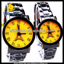 latest designs yellow eiffel tower face couple watches(SW-934)