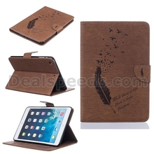 Feather Embossed Pattern Card Slots Wallet Style Stand TPU+ PU Leather Case for iPad Mini 1/2/3 - Brown