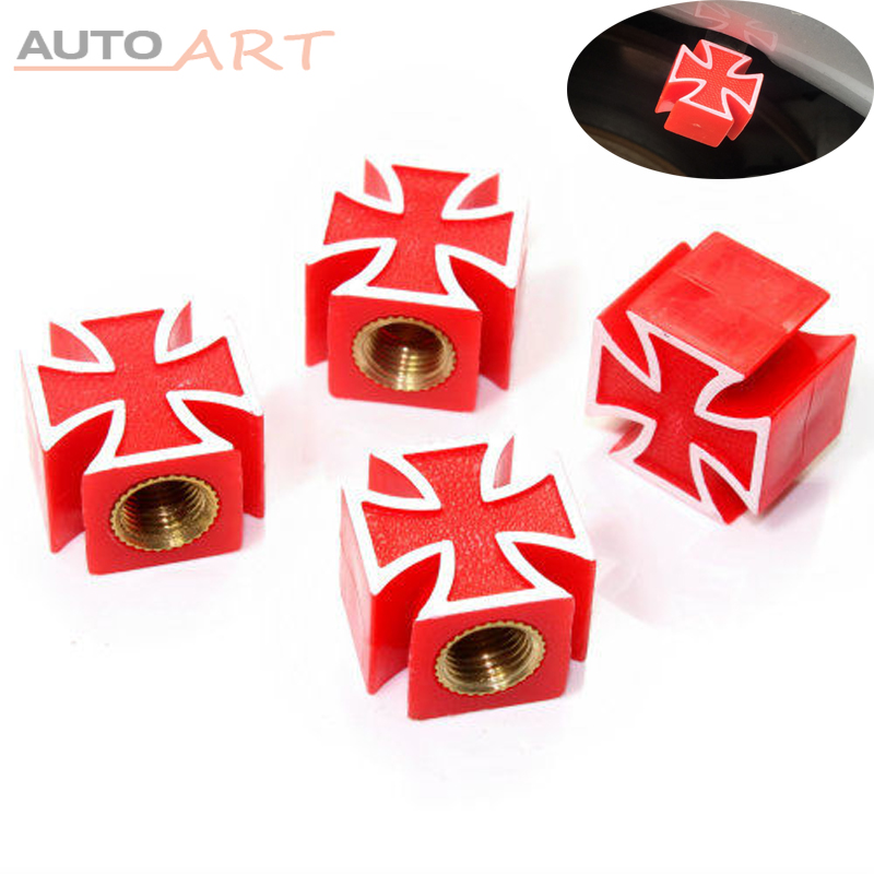 4pcs Bicycle Car Truck ATV Bike Wheel Rims Tire <strong>Air</strong> Caps Red Iron Cross Valve Stem Cover