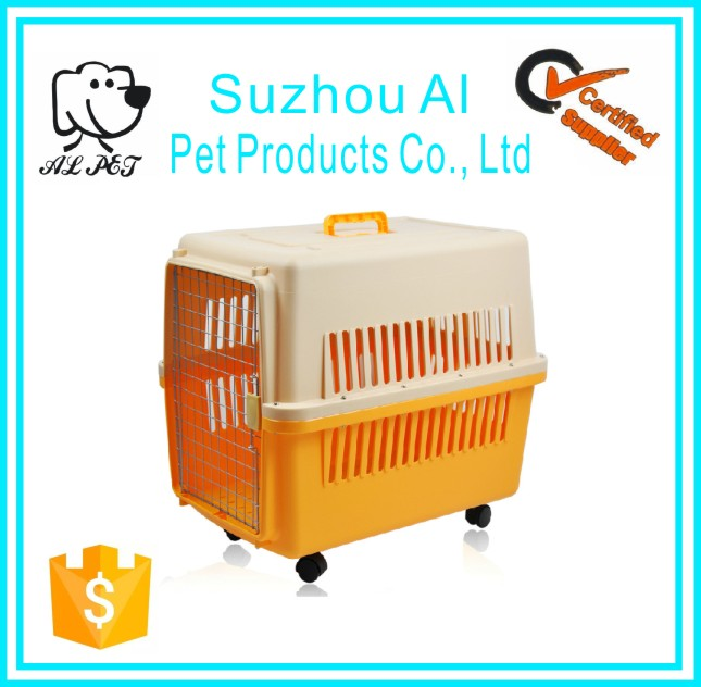 Plastic Dog Kennel Home Travel Airline Approved Dog Cage with Wheels