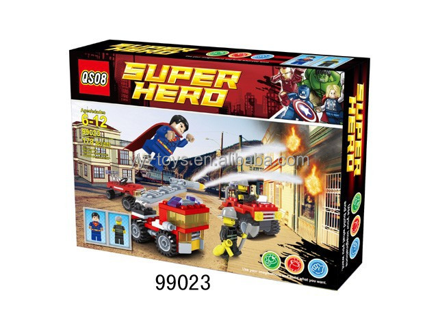 NO.99023 New Products Kids Building Block Superman figure+ fire engine toy Play Set
