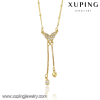 42898 Xuping Cute design most popular hot sell jewelry Butterfly pendant necklace, Crystal alloy wholesale necklace