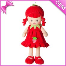 3d face plush girl doll with different color embroidery fruit & vegetables dress