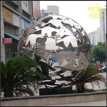 Custom home & garden decor metal Crafts New product stainless steel hollow ball sculpture