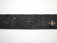 Uniform Black Silk Oak Leaf design Lace, Military Silk Braids laces