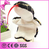 China manufacture snake plush hand puppet,soft toy snake