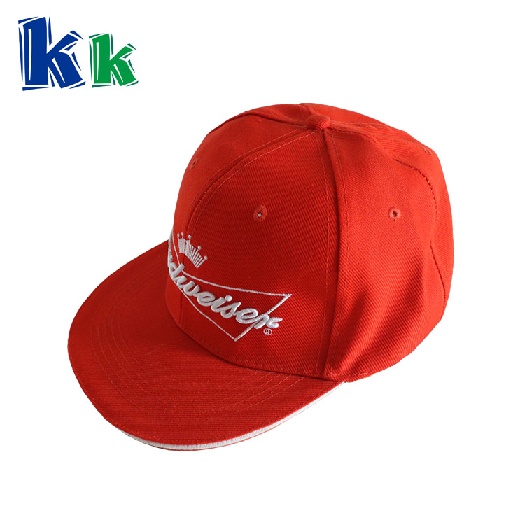 6 panels cotton material red baseball cap with paste closure