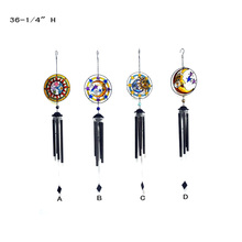 Moon and Sun Faces With Stained Glass Wind Chimes