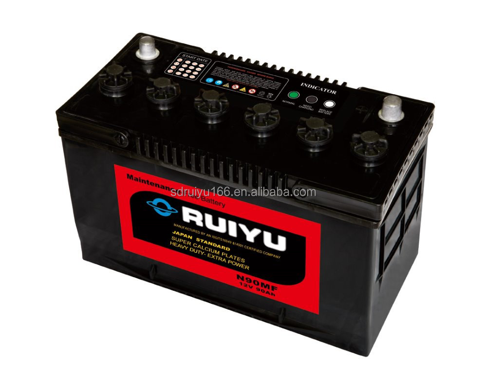 HUAYUAN N90MF auto battery used to car starting 12V90AH