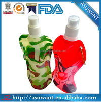 2014 reusable foldable plastic water drink bag with handle and spout pouch