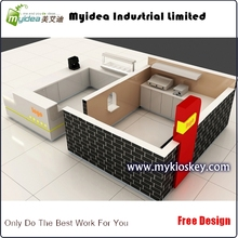 Simple fast food restaurant interior design crepe waffle kiosk with prepared room