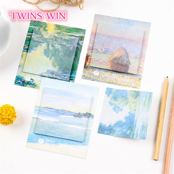 Hot in Amazon japan stationery Creative oil painting design fancy sticky notes Memo Doodle can tear custom sticky notes