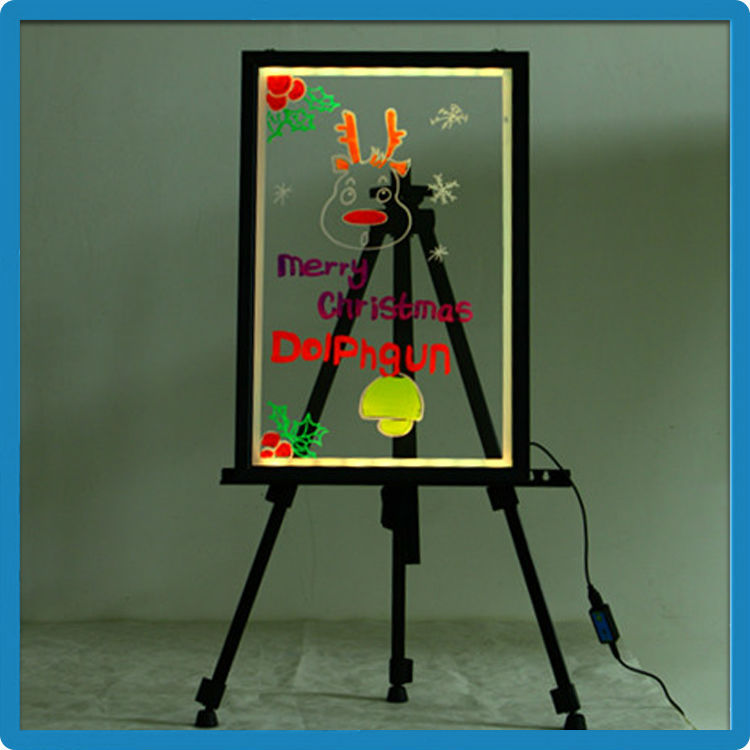 60*80cm acrylic tempered glass LED neon sign/notice board advertising for any products