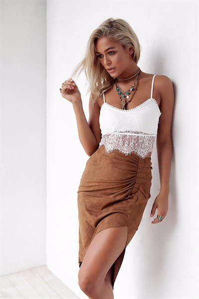 Two piece of dress lace top and suede imitate skirt women summer sets