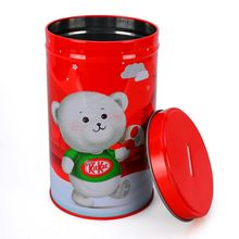 High Quality Food Grade Round Food Biscuit Tin with Slot On Top