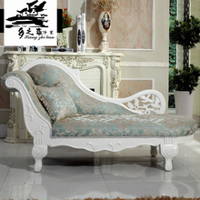 MOQ=1set Bride and Groom Carving White Solid Wood Frame Chaise Chair, New Antique French chaise lounge