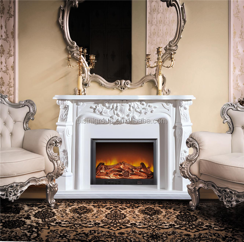 Home Used White Painted Freestanding Electric Fireplace For Dining Decoration (BF09-42166)