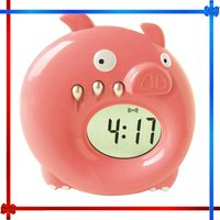 Cartoon pig digital bell alarm clock