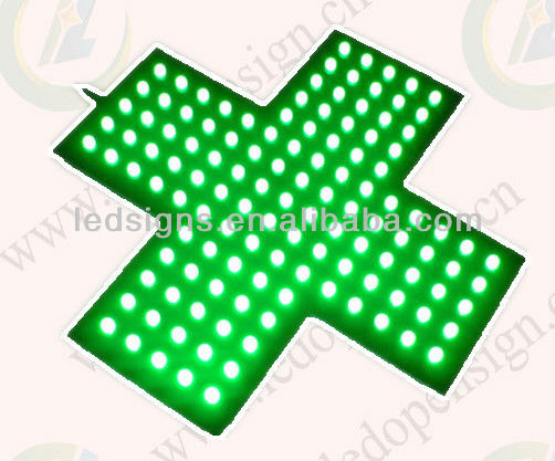 indoor ultra bright green color led pharmcy cross
