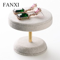 FANXI Cheap Linen Jewelry Display Table Design Earrings/Neck Stands Counter Shop Jewlery Holder Direct Supplier