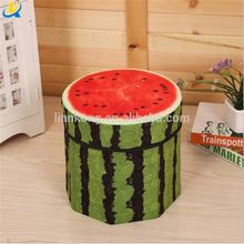 2 in 1 storage box Fruit Design Round fabric Foldable Storage Box as chair