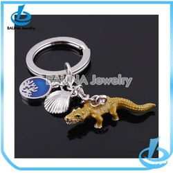 Personalized gold crocodile keychain sea shell pendant keychain