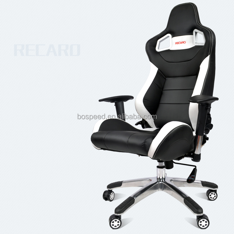 Black & White Leather Office Chair RECARO AD-2 Type Executive Gaming Chair With Adjustable Armrest