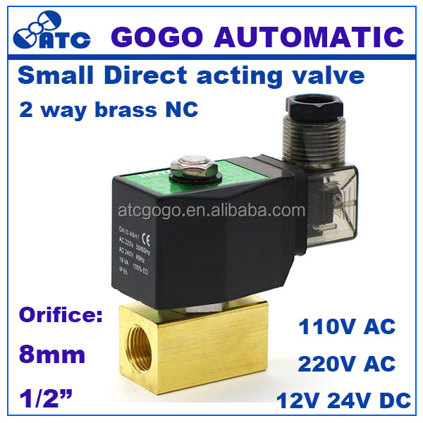 "GOGO 1bar Normally Closed Brass Small <strong>Gas</strong> 2 way water Direct acting low pressure solenoid valve 1/2"" BSP 220V AC 8mm NBR Seals"
