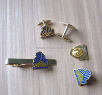 custom engraving logo metal lapel pin/ cufflinks/ tie clips sets for men's formal suit