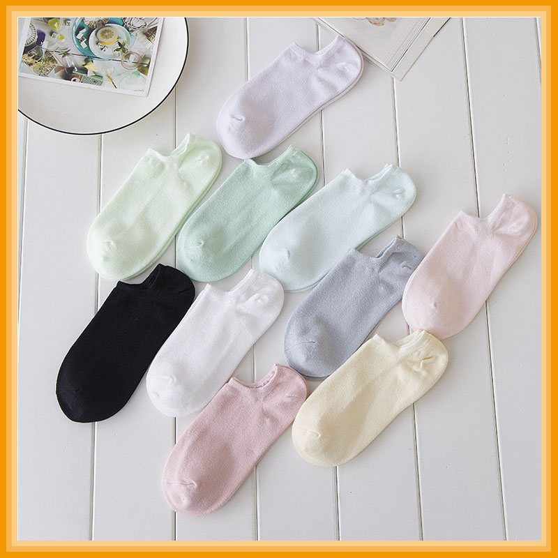 female spring and summer invisible socks candy color anti-skid shallow mouth pure color female socks wholesale socks